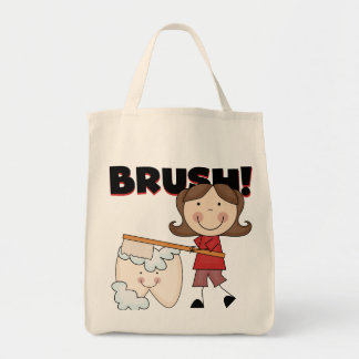 BRUSH - Girl With Tooth Tshirts and Gifts Grocery Tote Bag