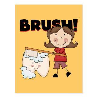 BRUSH - Girl With Tooth Tshirts and Gifts Postcard