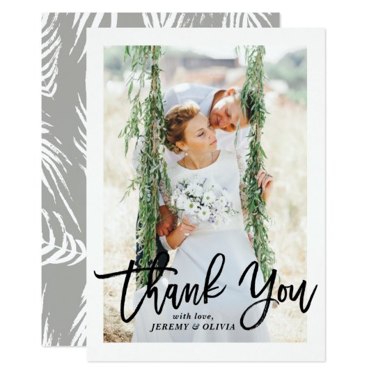 Brush Hand Lettering Photo Wedding Thank You Card