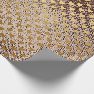 Brush Maroon Brown  Golden Heart Confetti Wrapping Paper