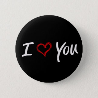 Brush Painted Red Heart I Love You Button
