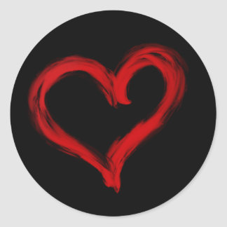 Brush Painted Red Heart Sticker