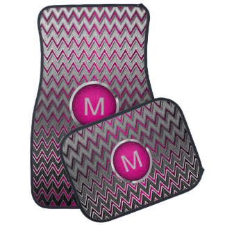 Brush Silver Metallic & Hot Pink Chevron |Monogram Car Mat