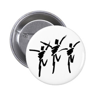 Brush Stroke Dance Trio Button in White