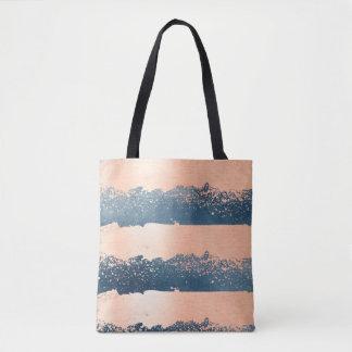 Brush Strokes Denim Blue & Pink Tote Bag