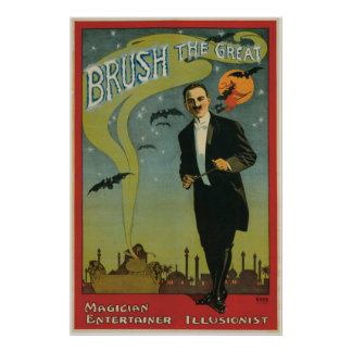 Brush ~ The Great Magician Vintage Magic Act Poster