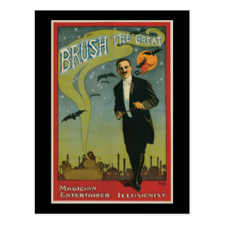 Brush the Great Vintage Magician Postcard