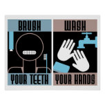 Brush your Teeth Wash your Hands retro poster