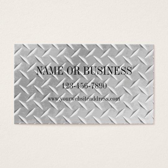 Brushed Aluminium Diamond Plate Metal Business Business Card