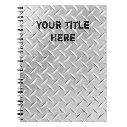 Brushed Aluminium Diamond Plate Metal Notebook