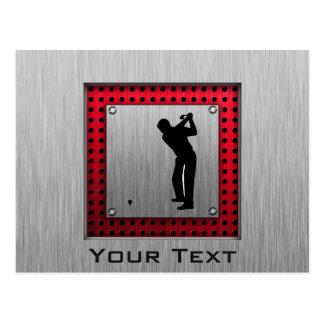 Brushed Aluminum look Golfer Postcard