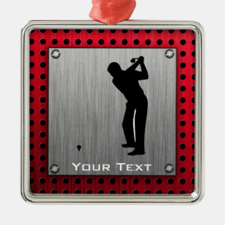 Brushed Aluminum look Golfer Silver-Colored Square Decoration