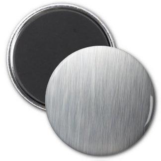 Brushed Aluminum Metal 6 Cm Round Magnet