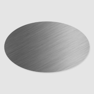 Brushed Aluminum Metal Look Oval Sticker