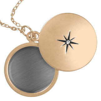 Brushed Aluminum Metal Look Round Locket Necklace