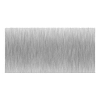 Brushed Aluminum Stainless Steel Textured Customized Photo Card