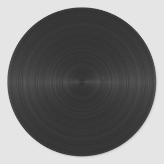 Brushed Black Metal Classic Round Sticker