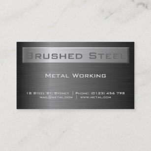 Black steel business cards business card printing zazzle uk brushed black steel business card reheart Images