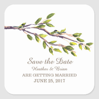 Brushed Branches Save the Date Stickers
