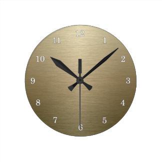 Brushed Bronze Round Clock