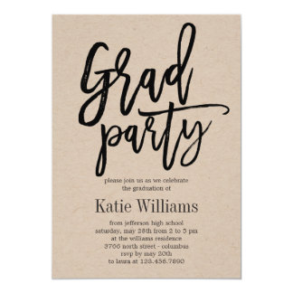 Brushed Charm Graduation Party Invitation Kraft