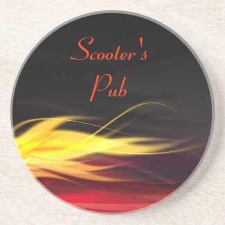Brushed Flames Personalized Coaster