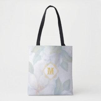Brushed Floral Monogrammed Wedding Tote Bag