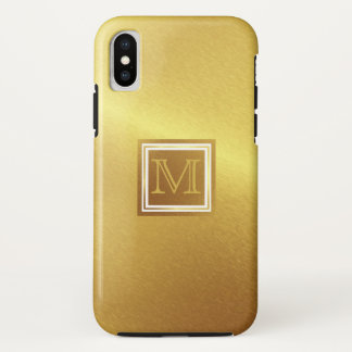 Brushed Gold, Framed Monogram iPhone X Case