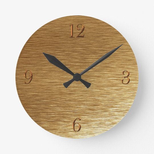 Brushed Gold Metal-look Wall Clock