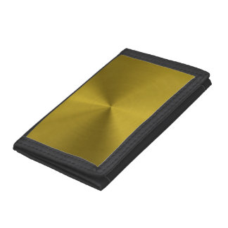 Brushed gold metal trifold wallets
