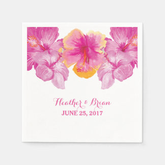 Brushed Hibiscus Floral Paper Napkins