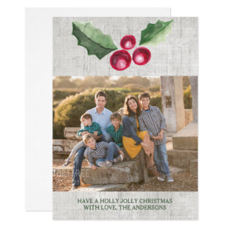 Brushed Holly and Berries Holiday Photo Card