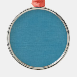 Brushed linen fabric texture // Ocean Blue Silver-Colored Round Decoration
