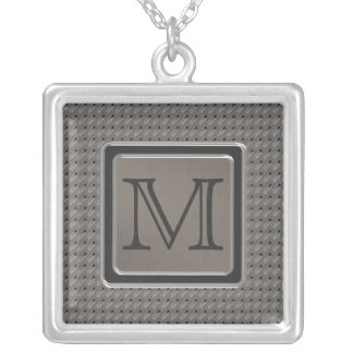 Brushed Metal Grille Look with Monogram Square Pendant Necklace