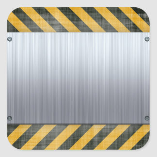 Brushed Metal Hazard Construction Layout Square Sticker