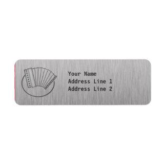 Brushed metal-look Accordion Return Address Label