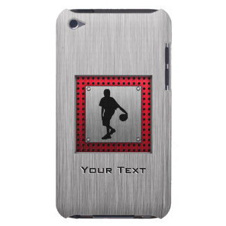 Brushed metal look, Basketball; red Barely There iPod Case