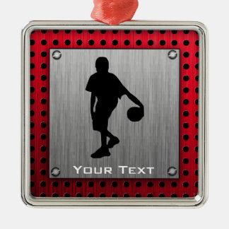 Brushed metal look, Basketball; red Christmas Ornament