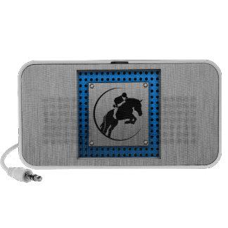 Brushed Metal-look; Blue Equestrian Mp3 Speakers
