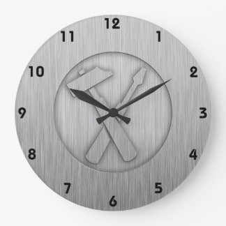 Brushed Metal-look Carpenter Tools Large Clock