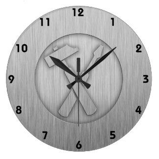 Brushed Metal-look Carpenter Tools Wall Clock