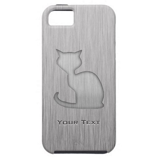 Brushed Metal look Cat iPhone 5 Cover