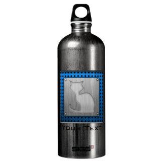 Brushed Metal look Cat Water Bottle