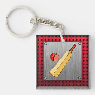 Brushed metal look Cricket Key Ring