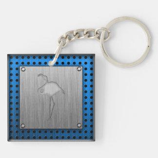 Brushed metal-look Flamingo Acrylic Key Chain