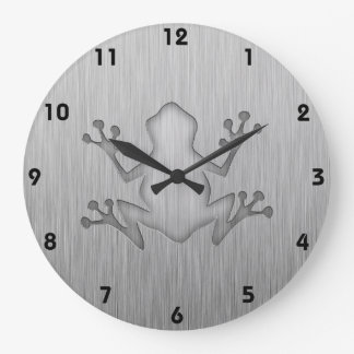 Brushed Metal look Frog Large Clock