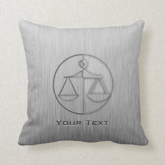 Brushed Metal-look Justice Scales Cushion