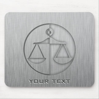 Brushed Metal-look Justice Scales Mouse Mat