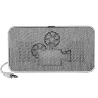 Brushed Metal-look Movie Camera Mp3 Speaker