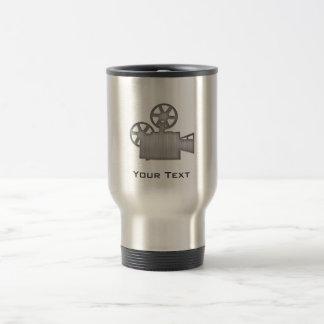 Brushed Metal-look Movie Camera Travel Mug